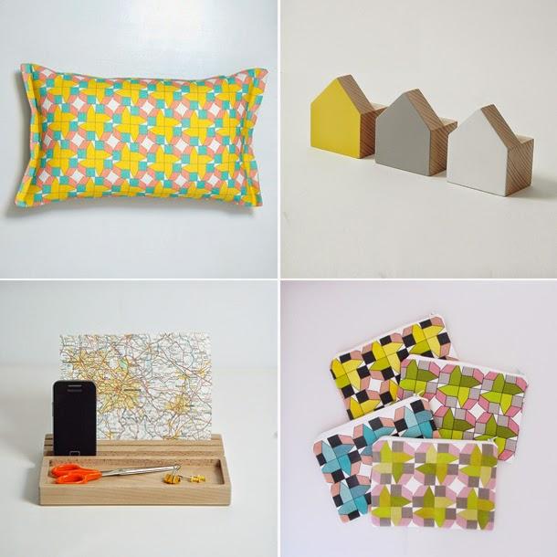 designer cushions, desk tidy, ipad stand, wall hooks, linen purses