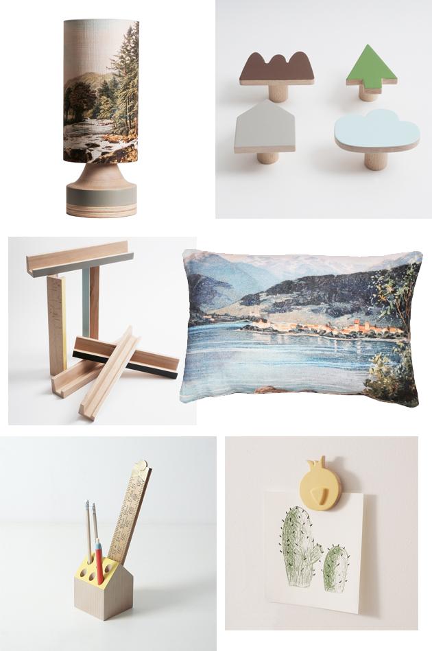 cushions, wall hooks, display shelves, pencil holder