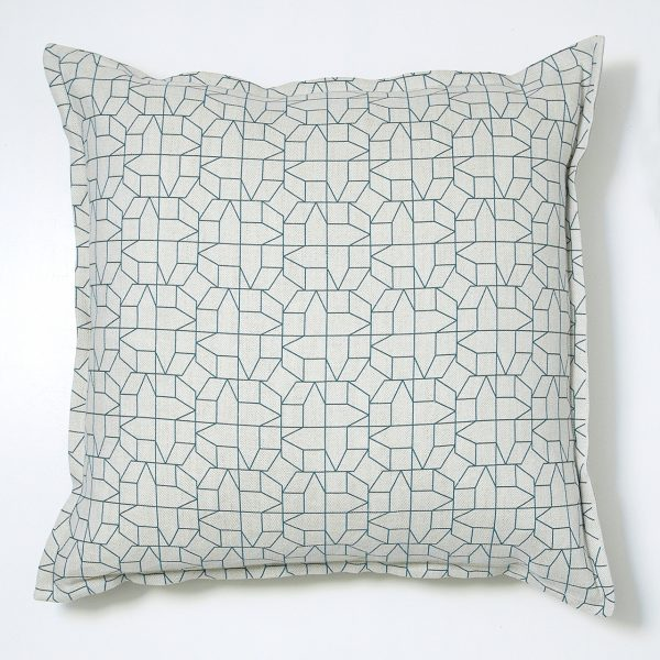 blue geometric cushion