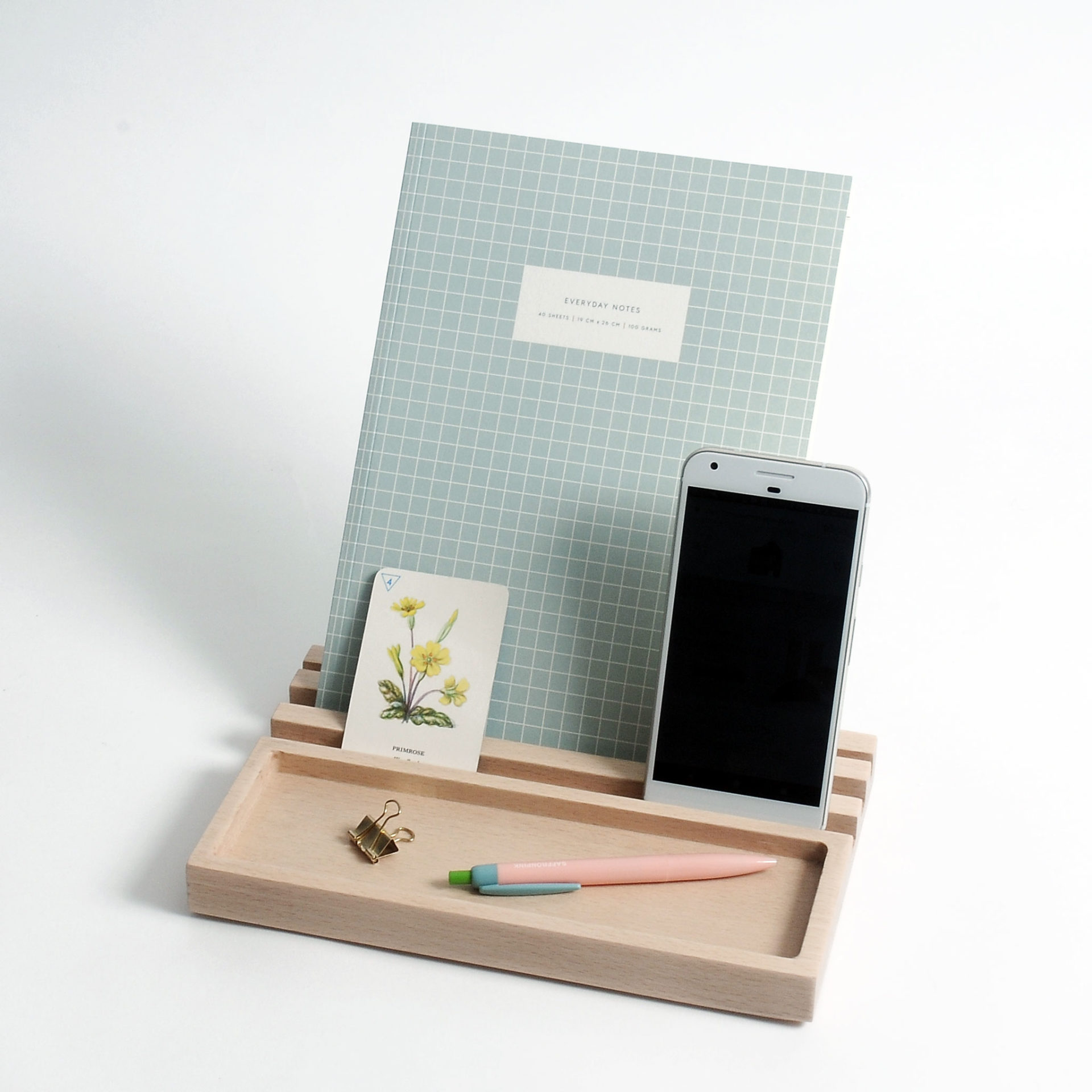 Desk Organiser Wooden Ipad Stand Chocolate Creative