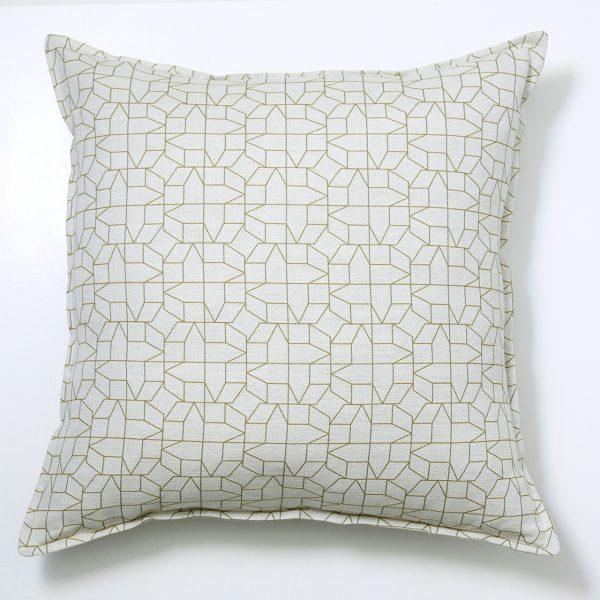 green geometric cushion