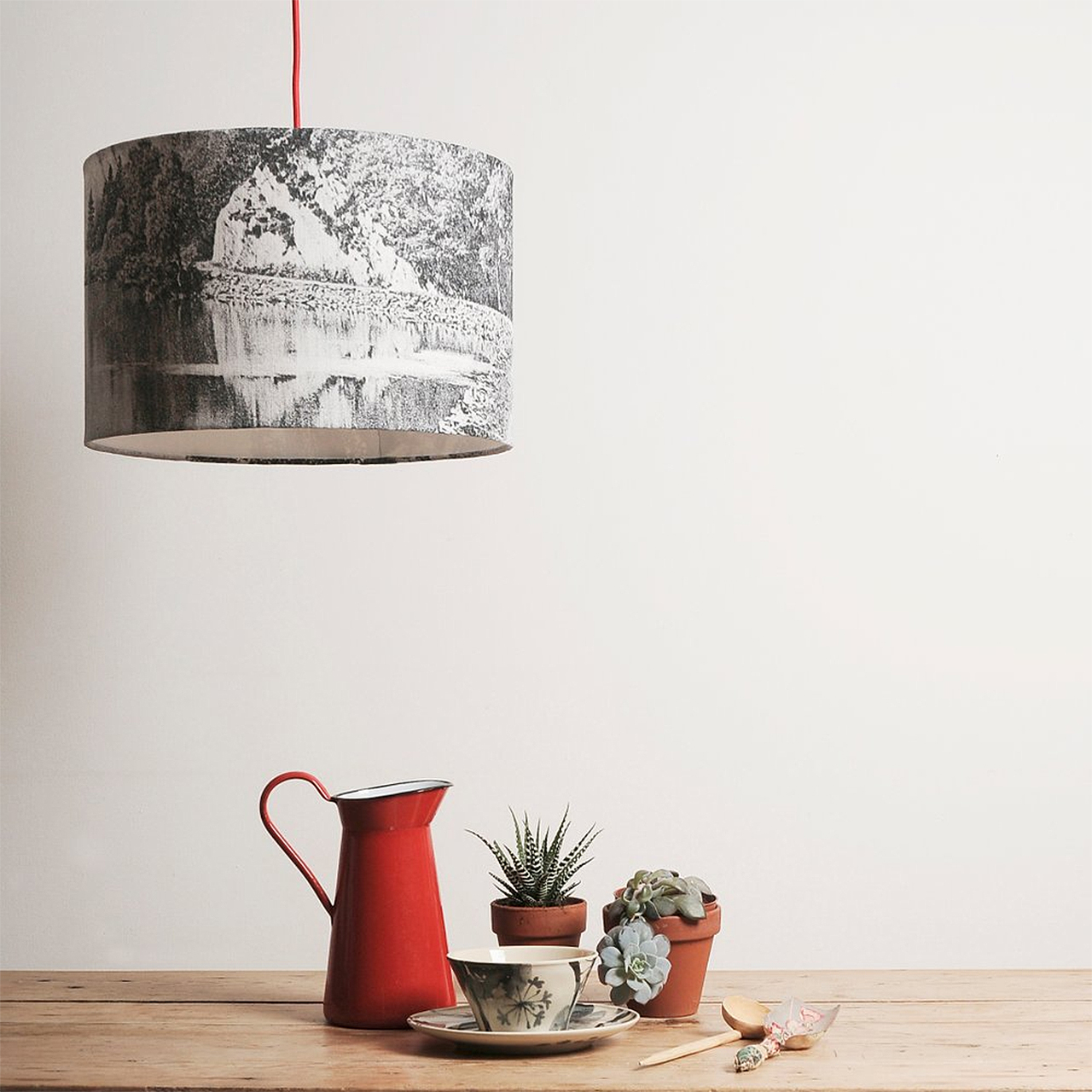 Pendant lampshade black and white landscape chocolate creative lampshade mozeypictures Images
