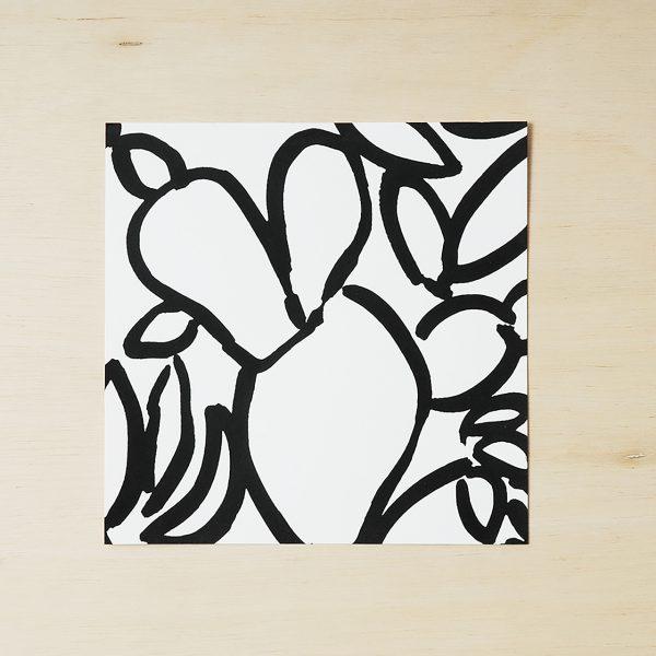black and white cactus print