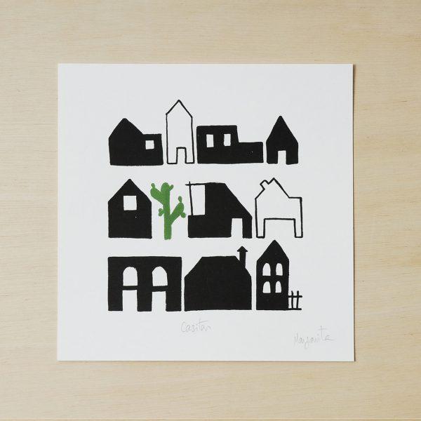 black and white print, houses print
