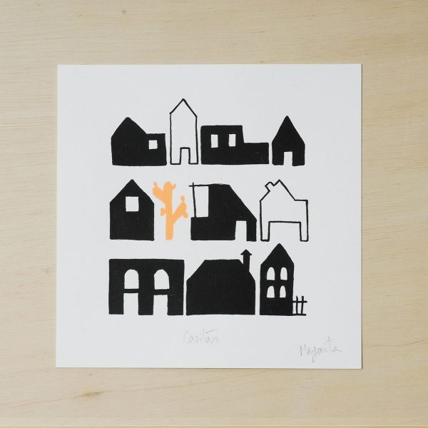 black and white print, houses print