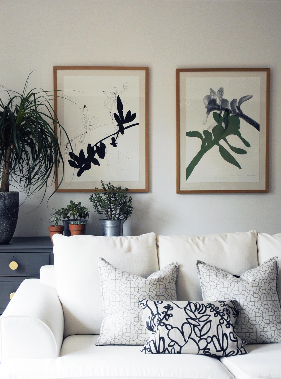 Drawing Room Furniture Design: Botanical Art Print, Wall Art, Black, White And Green