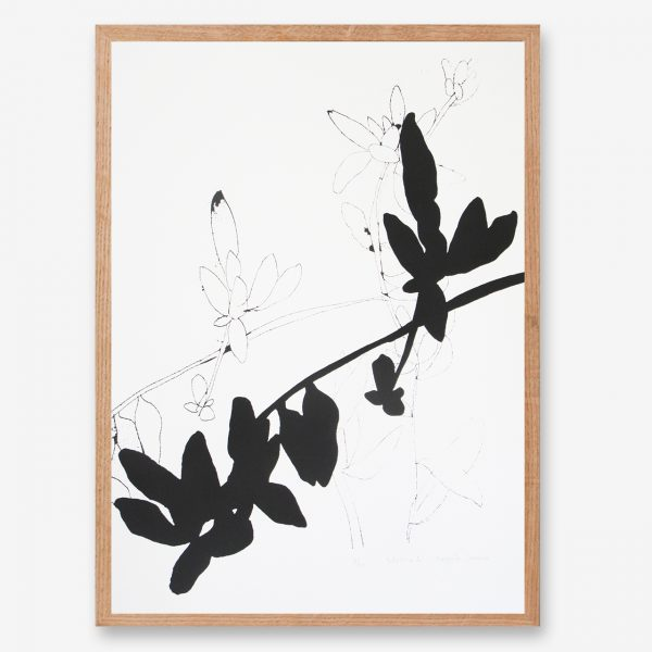 leaf art print, black and white art