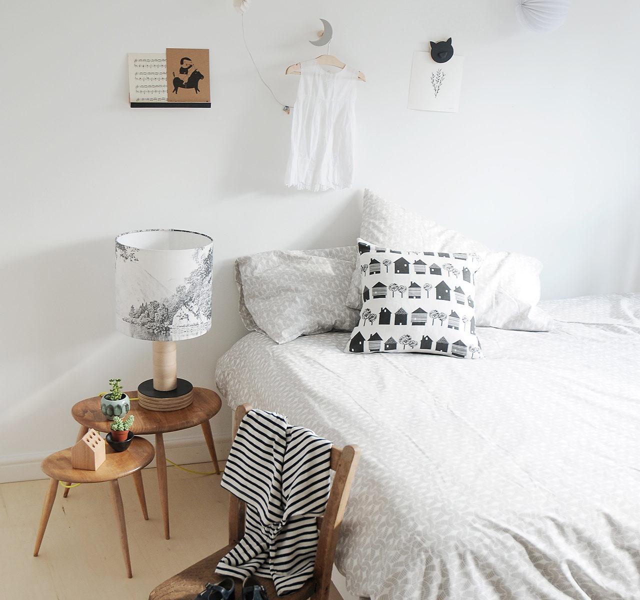 Monochrome children bedroom, wall shelve, wall hook