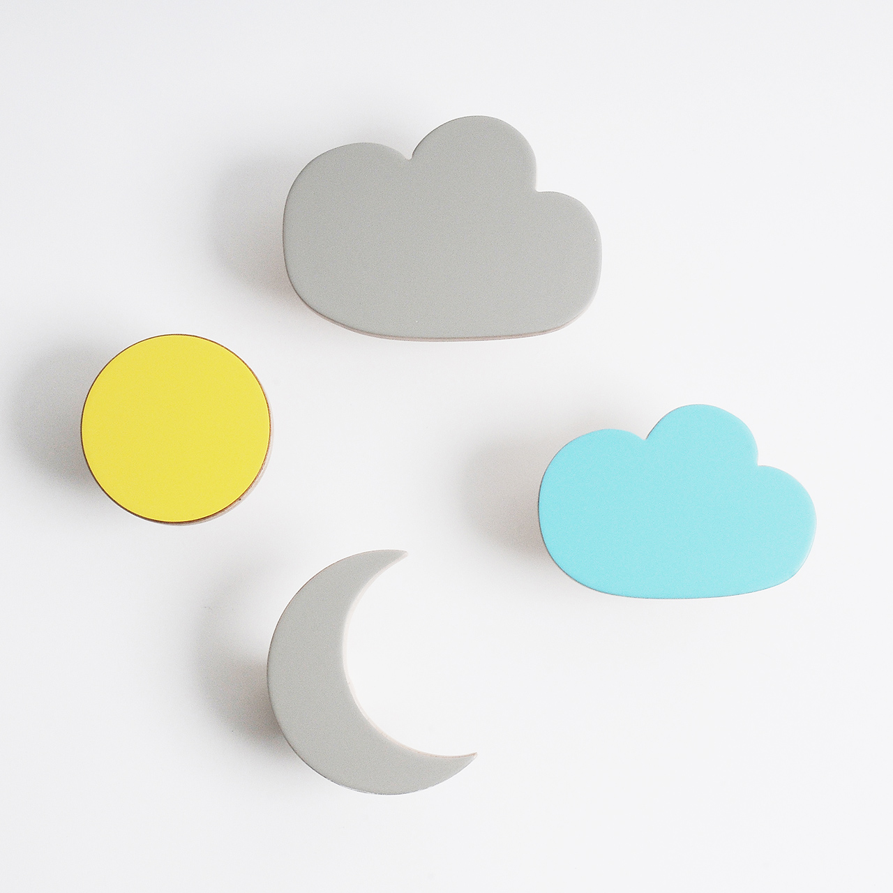 Wooden Wall Hooks Cloud Sun And Moon Designs Chocolate